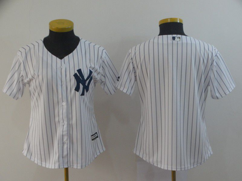Women New York Yankees Blank White MLB Jersey