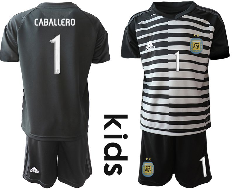 Youth 2019-2020 Season National Team Argentina black goalkeeper 1 Soccer Jerseys1