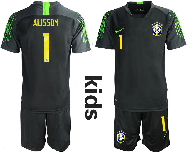 Youth 2019-2020 Season National Team Brazil black goalkeeper 1 Soccer Jerseys