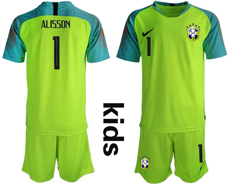 Youth 2019-2020 Season National Team Brazil fluorescent green goalkeeper 1 Soccer Jerseys