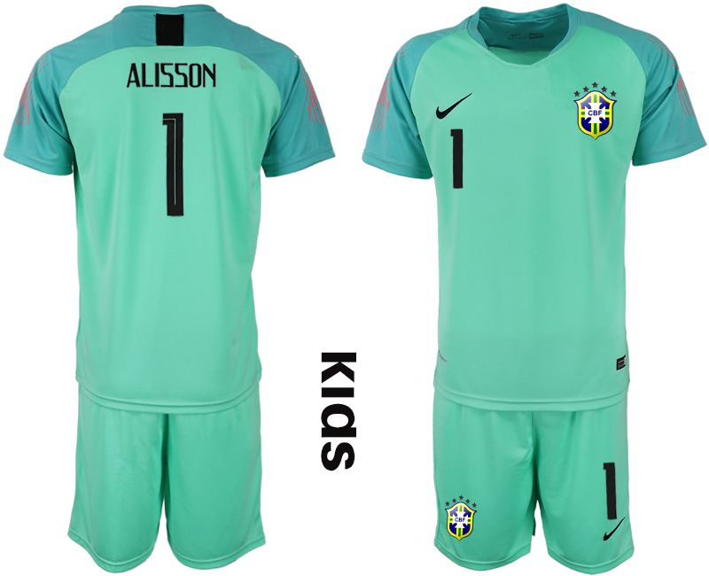 Youth 2019-2020 Season National Team Brazil green goalkeeper 1 Soccer Jerseys