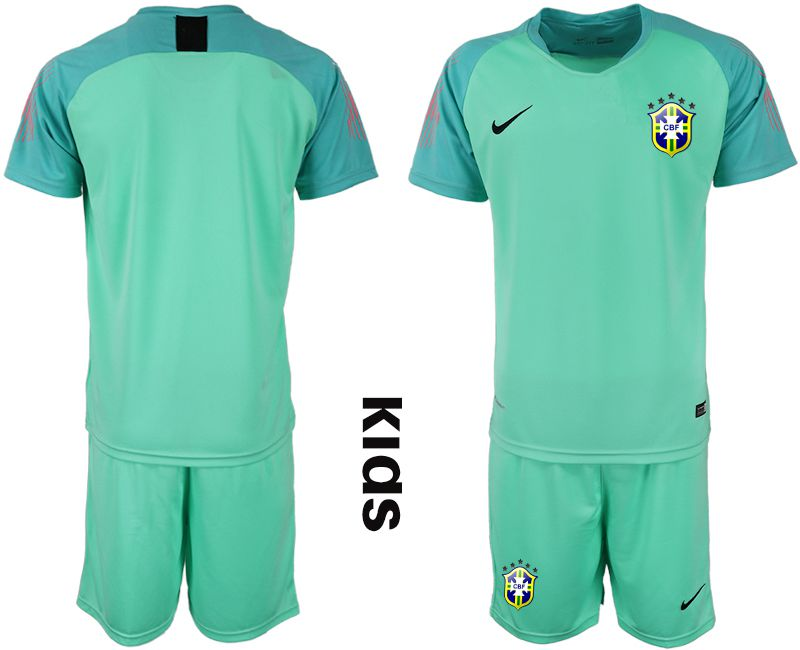 Youth 2019-2020 Season National Team Brazil green goalkeeper Soccer Jerseys