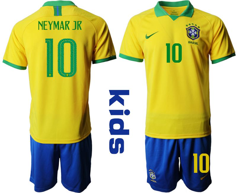 Youth 2019-2020 Season National Team Brazil home 10 yellow Soccer Jerseys