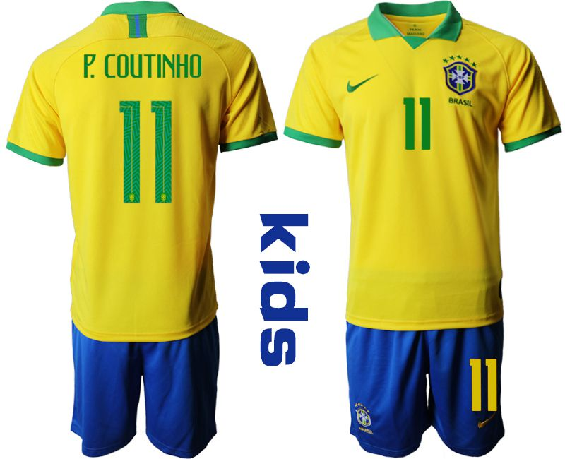 Youth 2019-2020 Season National Team Brazil home 11 yellow Soccer Jerseys