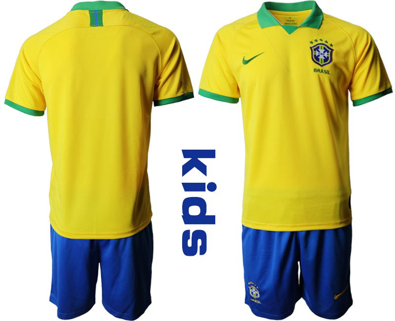 Youth 2019-2020 Season National Team Brazil home yellow Soccer Jerseys