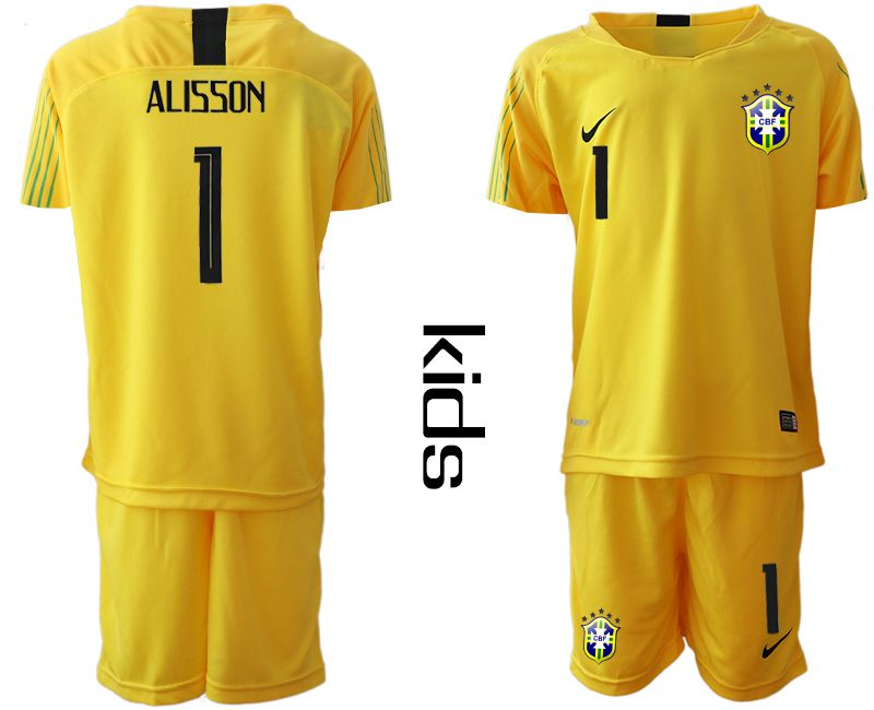 Youth 2019-2020 Season National Team Brazil yellow goalkeeper 1 Soccer Jerseys