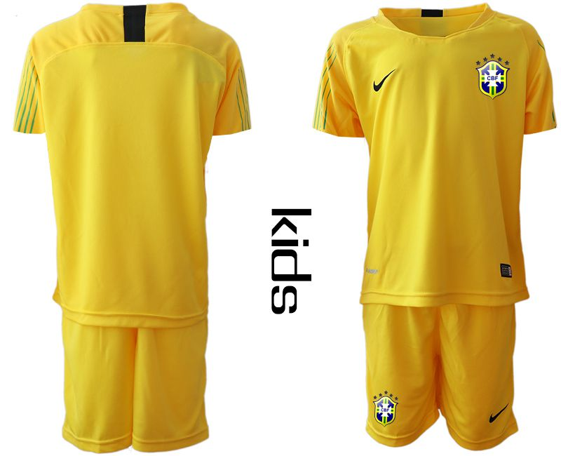 Youth 2019-2020 Season National Team Brazil yellow goalkeeper Soccer Jerseys