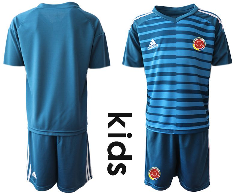 Youth 2019-2020 Season National Team Colombia blue long sleeve goalkeeper Soccer Jerseys