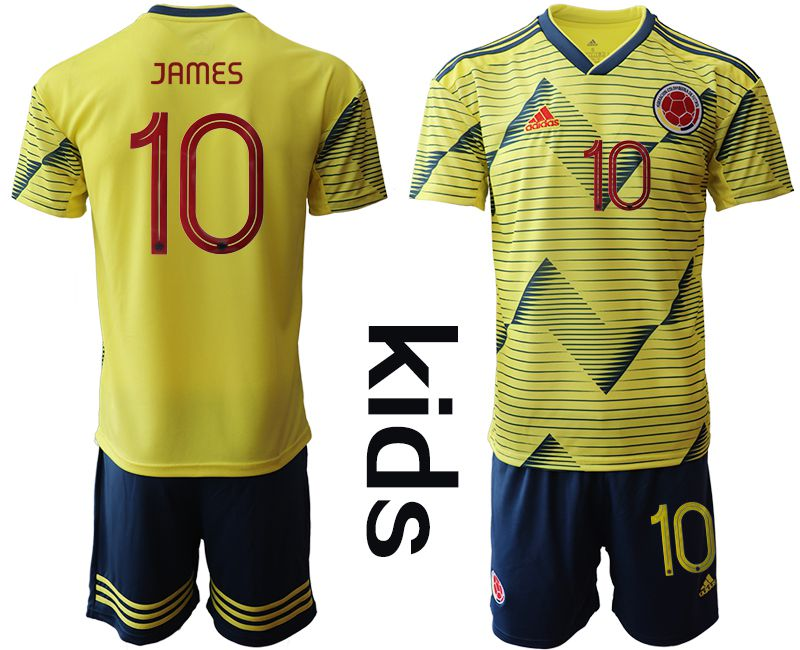 Youth 2019-2020 Season National Team Colombia home 10 yellow Soccer Jerseys