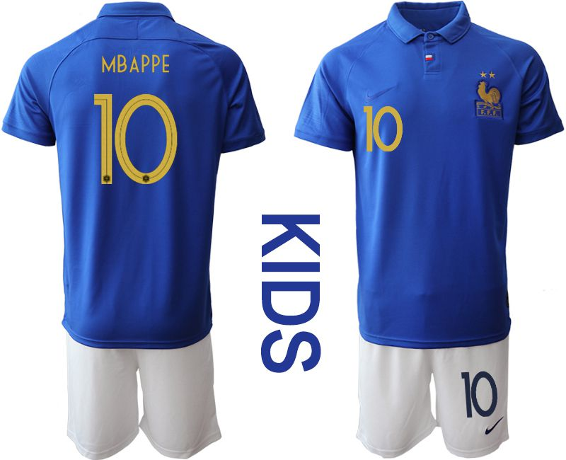 Youth 2019-2020 Season National Team France Centenary edition suit 10 blue Soccer Jerseys