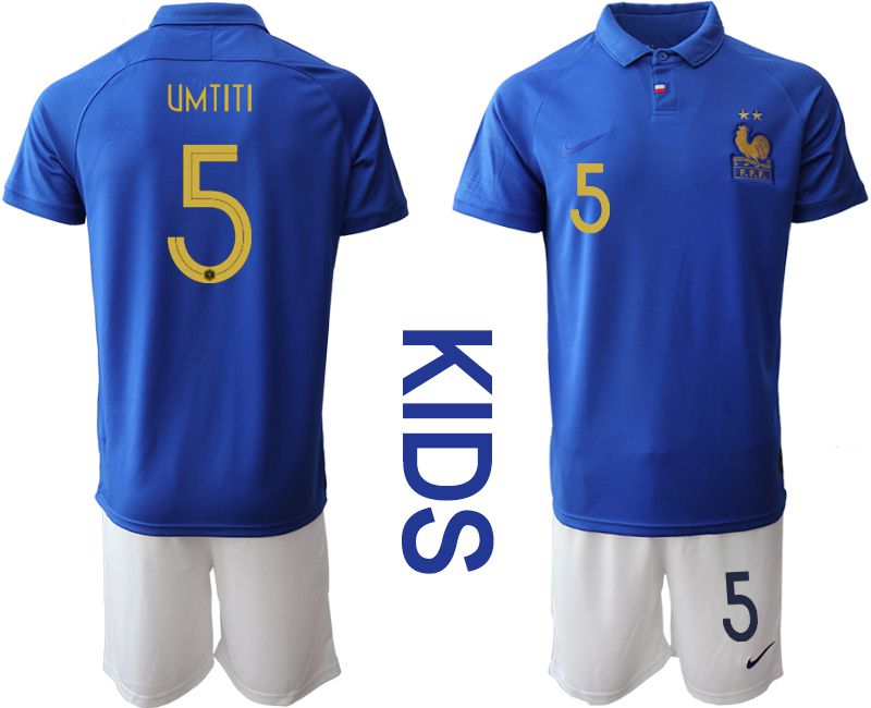 Youth 2019-2020 Season National Team France Centenary edition suit 5 blue Soccer Jerseys