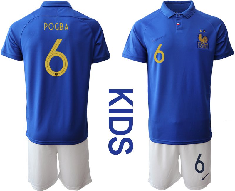 Youth 2019-2020 Season National Team France Centenary edition suit 6 blue Soccer Jerseys