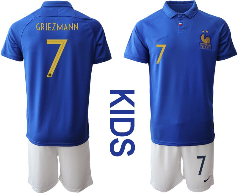 Youth 2019-2020 Season National Team France Centenary edition suit 7 blue Soccer Jerseys