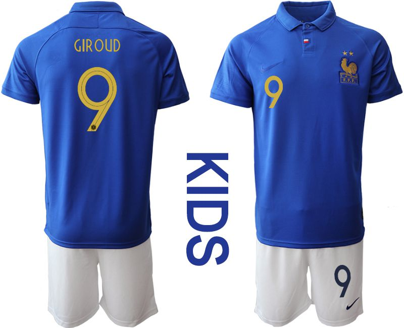 Youth 2019-2020 Season National Team France Centenary edition suit 9 blue Soccer Jerseys