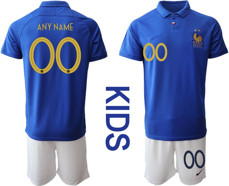 Youth 2019-2020 Season National Team France Centenary edition suit customized blue Soccer Jerseys