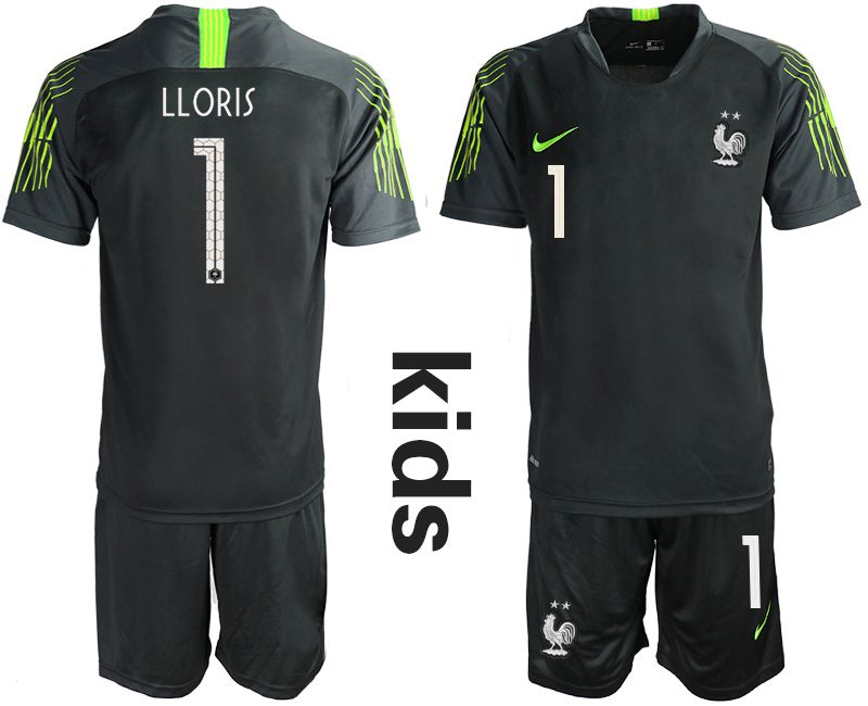 Youth 2019-2020 Season National Team France black goalkeeper 1 Soccer Jerseys