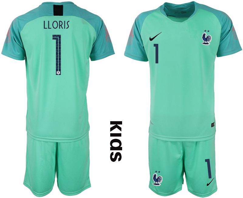 Youth 2019-2020 Season National Team France green goalkeeper 1 Soccer Jerseys