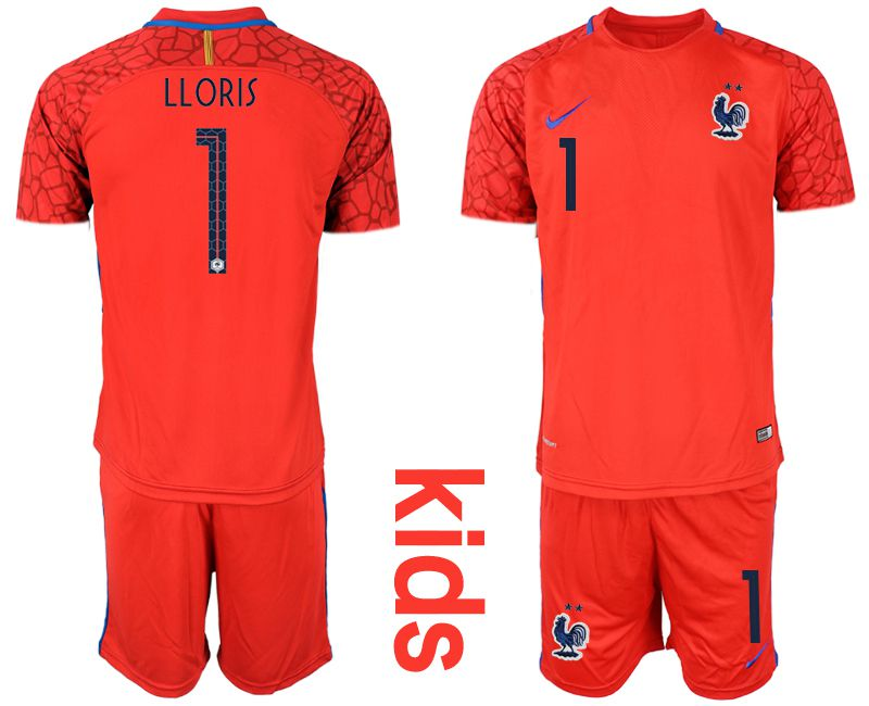 Youth 2019-2020 Season National Team France red goalkeeper 1 Soccer Jerseys