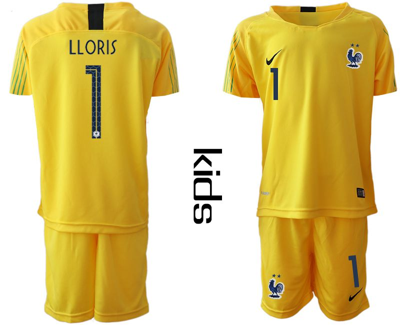 Youth 2019-2020 Season National Team France yellow goalkeeper 1 Soccer Jerseys