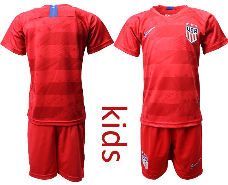 Youth 2019-2020 Season National Team USA away long sleeves red Soccer Jerseys