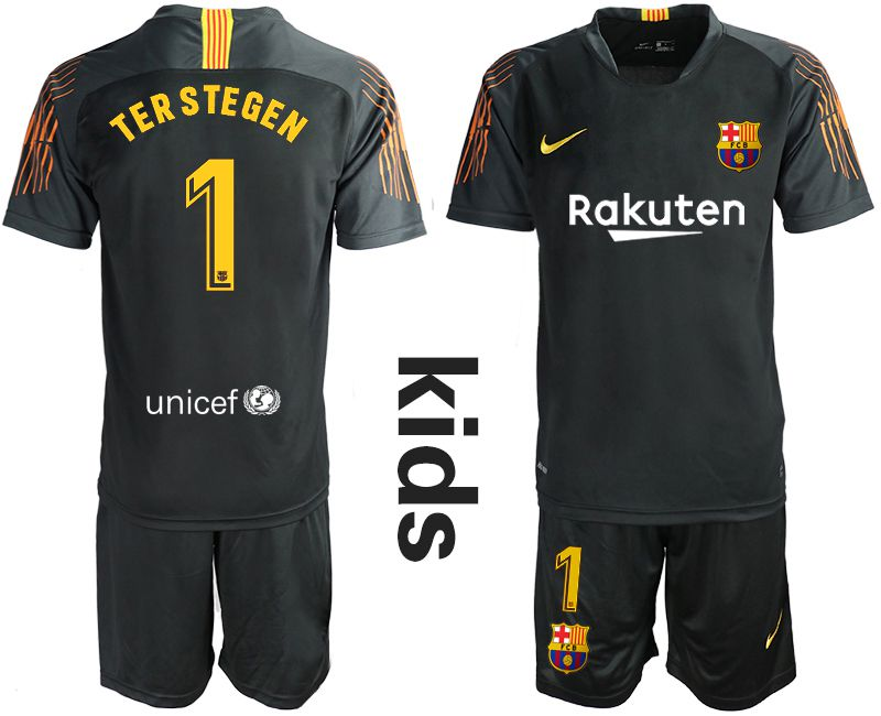 Youth 2019-2020 club Barcelona black goalkeeper 1 Soccer Jerseys