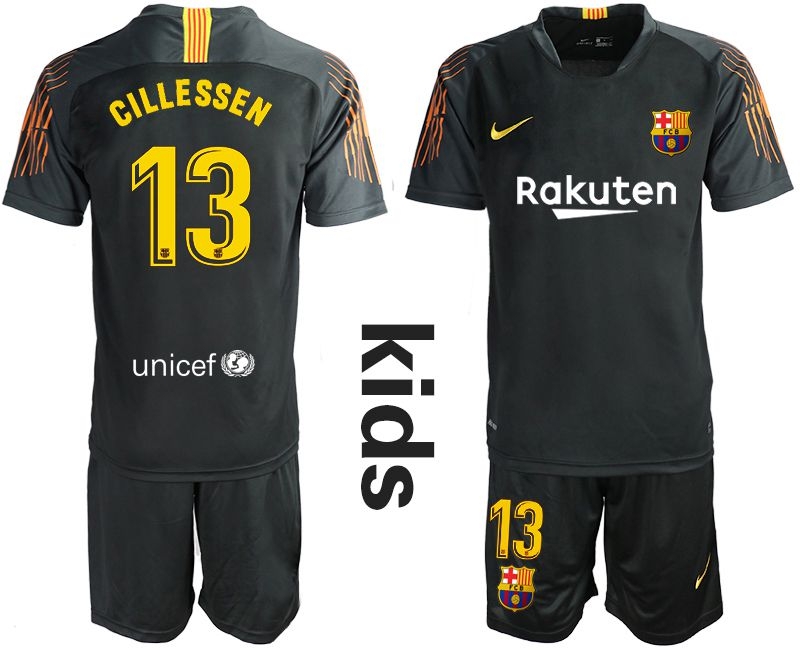 Youth 2019-2020 club Barcelona black goalkeeper 13 Soccer Jerseys