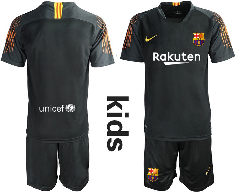 Youth 2019-2020 club Barcelona black goalkeeper Soccer Jerseys