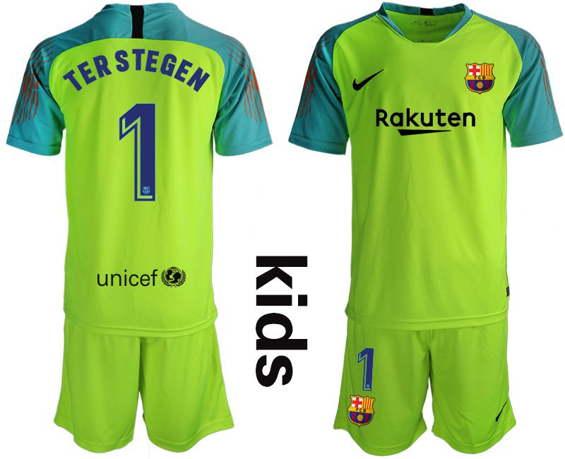 Youth 2019-2020 club Barcelona fluorescent green goalkeeper 1 Soccer Jerseys