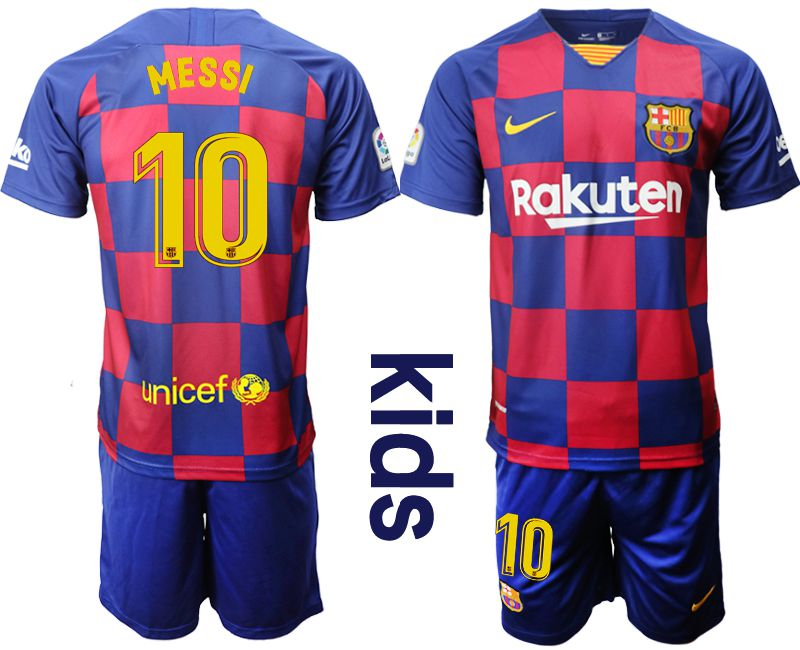 Youth 2019-2020 club Barcelona home 10 red Soccer Jerseys