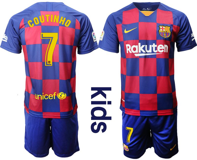 Youth 2019-2020 club Barcelona home 7 red Soccer Jerseys