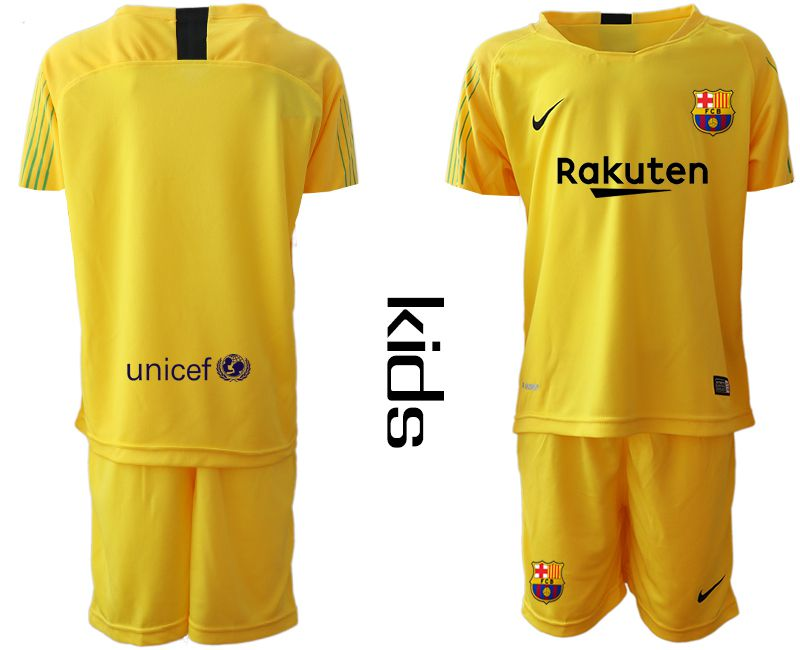 Youth 2019-2020 club Barcelona yellow goalkeeper Soccer Jerseys