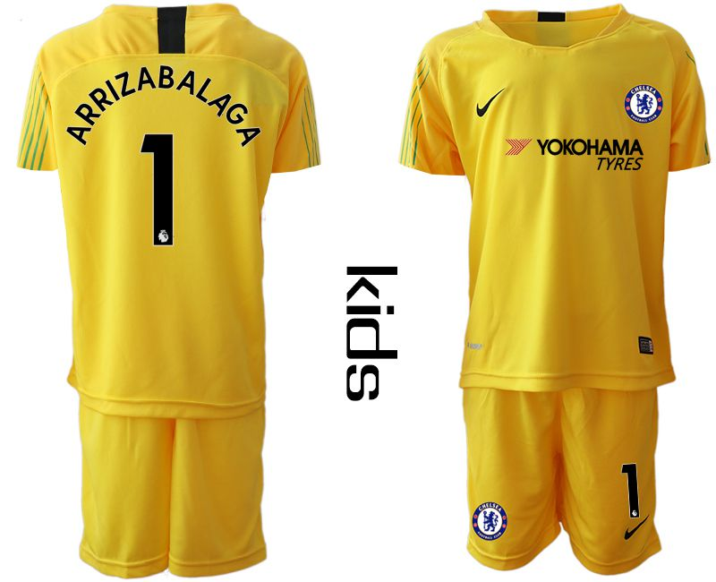 Youth 2019-2020 club Chelsea yellow goalkeeper 1 Soccer Jerseys