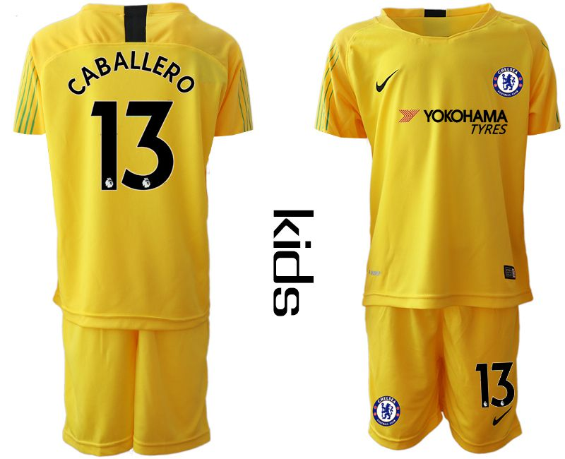 Youth 2019-2020 club Chelsea yellow goalkeeper 13 Soccer Jerseys