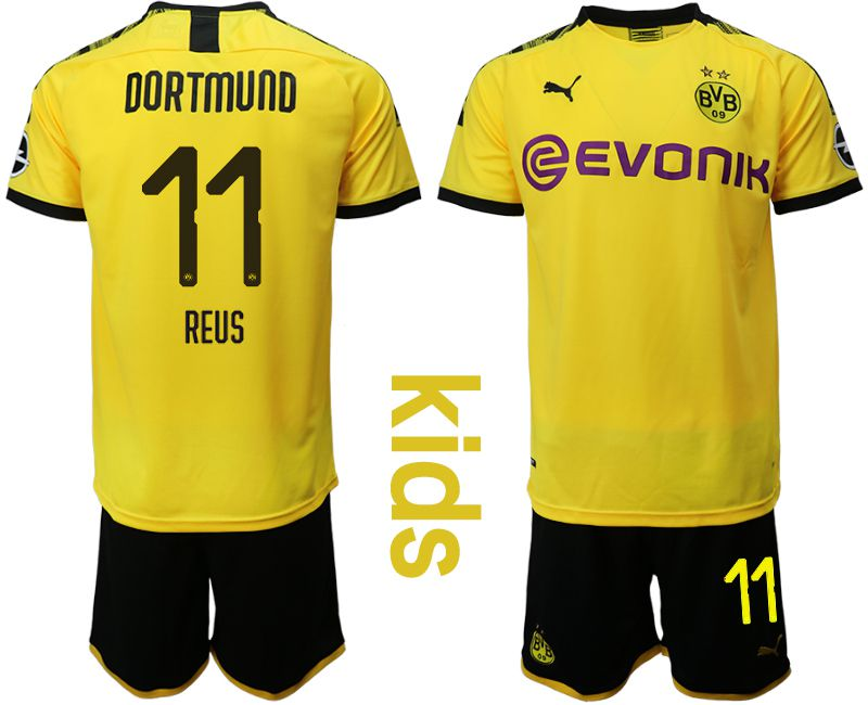 Youth 2019-2020 club Dortmund home 11 yellow Soccer Jerseys