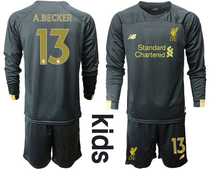Youth 2019-2020 club Liverpool black long sleeve goalkeeper 13 Soccer Jerseys