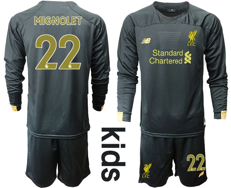 Youth 2019-2020 club Liverpool black long sleeve goalkeeper 22 Soccer Jerseys
