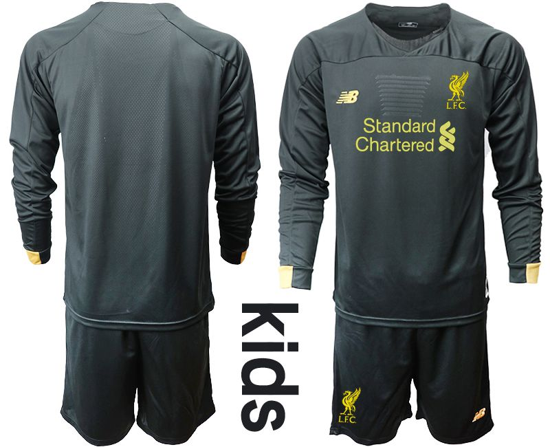 Youth 2019-2020 club Liverpool black long sleeve goalkeeper Soccer Jerseys