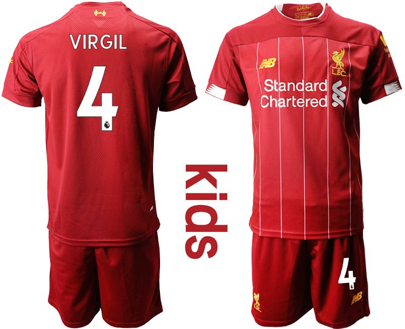 Youth 2019-2020 club Liverpool home 4 red Soccer Jerseys