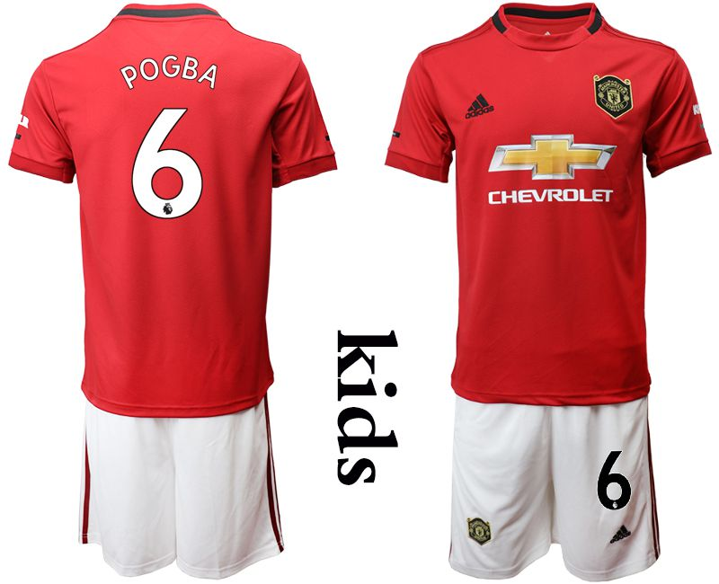 Youth 2019-2020 club Manchester United home 6 red Soccer Jerseys