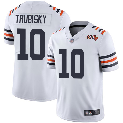 Youth Chicago Bears 10 Trubisky White 100th Anniversary Nike Vapor Untouchable Player NFL Jerseys