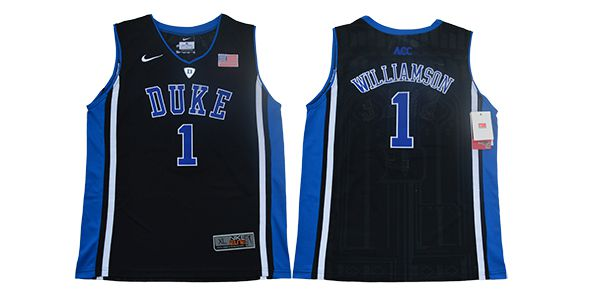 Youth Duke Blue Devils 1 Williamson Black Elite Nike NBA NCAA Jerseys