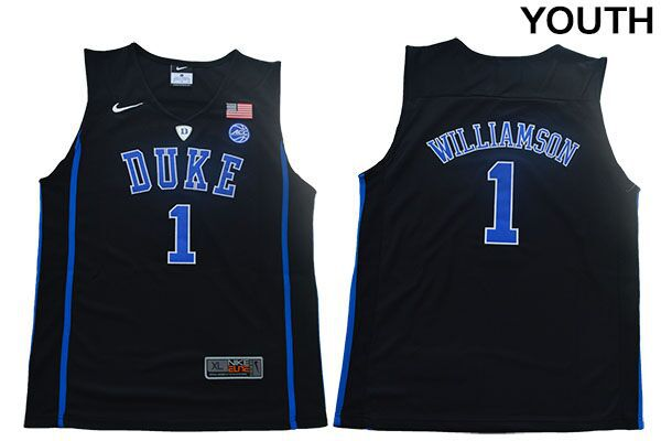 Youth Duke Blue Devils 1 Williamson Black Nike NBA NCAA Jerseys