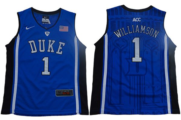 Youth Duke Blue Devils 1 Williamson Blue Elite Nike NBA NCAA Jerseys