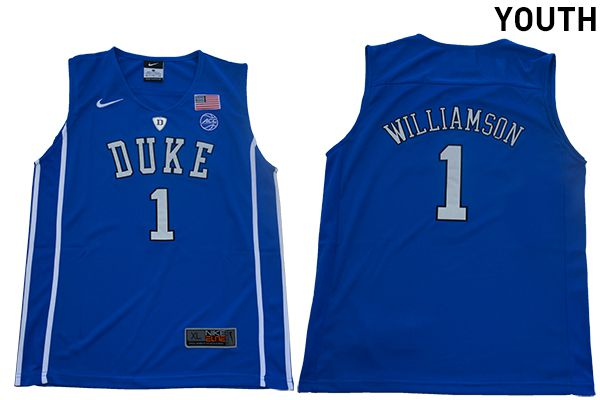 Youth Duke Blue Devils 1 Williamson Blue Nike NBA NCAA Jerseys