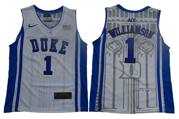 Youth Duke Blue Devils 1 Williamson White Elite Nike NBA NCAA Jerseys