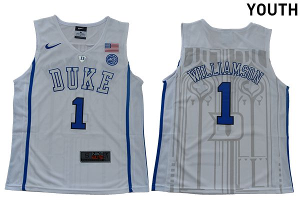Youth Duke Blue Devils 1 Williamson White Nike NBA NCAA Jerseys