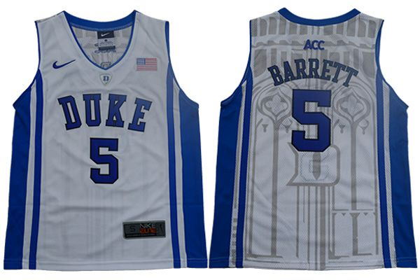 Youth Duke Blue Devils 5 Barrett White Elite Nike NBA NCAA Jerseys