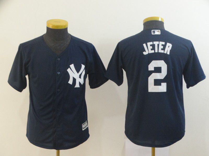 Youth New York Yankees 2 Jeter Blue MLB Jersey