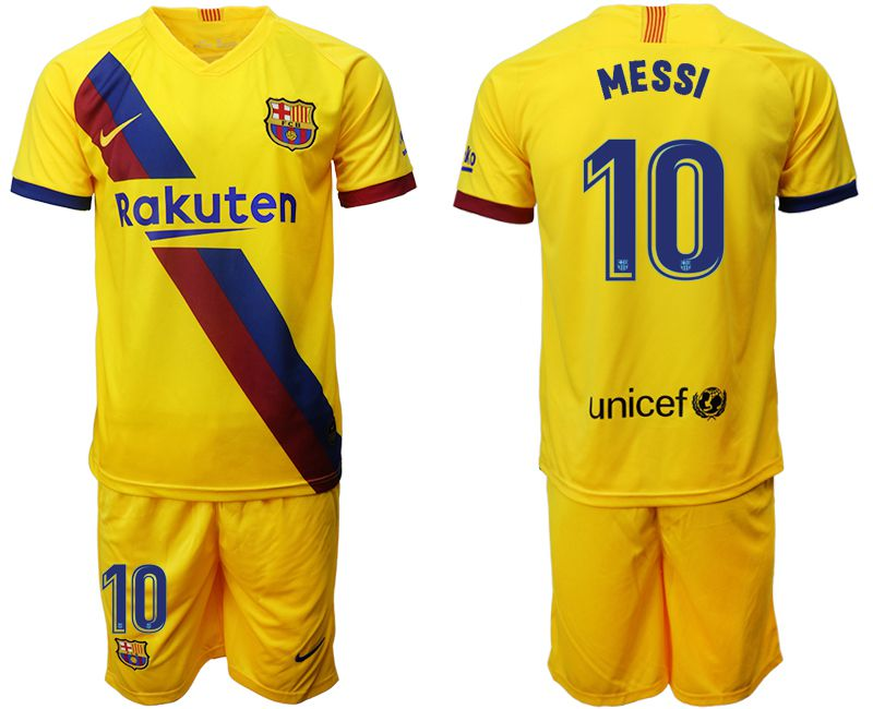 Men 2019-2020 club Barcelona away 10 yellow Soccer Jerseys