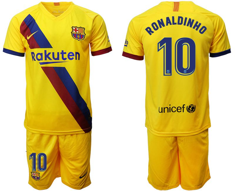 Men 2019-2020 club Barcelona away 10 yellow Soccer Jerseys1